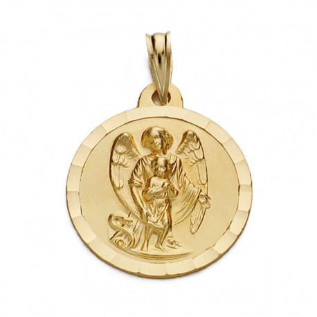Medalla oro 18k ángel de la guarda 18mm. [AA0526]