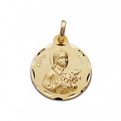 Medalla oro 18k Santa Gema 18mm. cerco tallado
