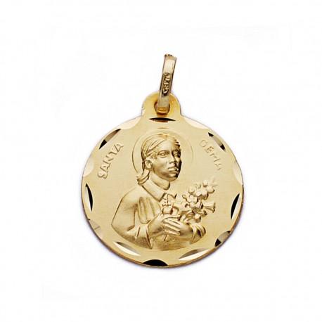 Medalla oro 18k Santa Gema 18mm. [AA0542]