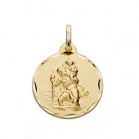 Medalla oro 18k San Cristóbal 17mm. [AA0543]