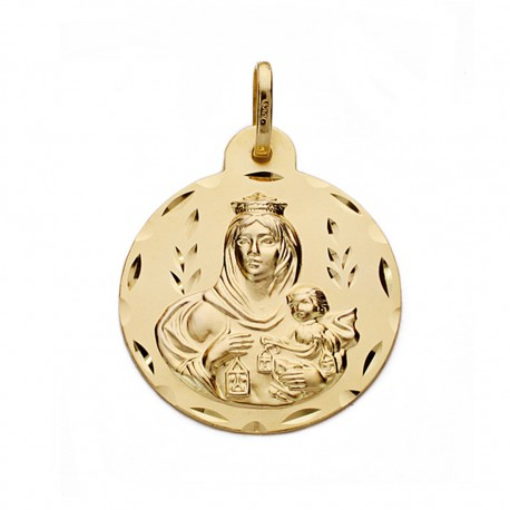 Medalla oro 18k Virgen del Carmen 22mm. [AA0547]