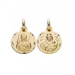 Medalla oro 18k escapulario 14mm. Virgen Carmen y Cristo [AA0548]