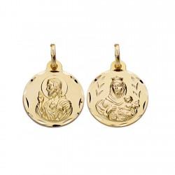 Medalla oro 18k escapulario 16mm. Virgen Carmen y Cristo [AA0549]