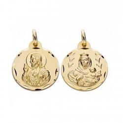 Medalla oro 18k escapulario 20mm. Virgen Carmen y Cristo [AA0550]
