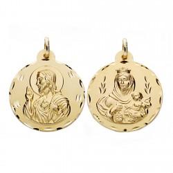 Medalla oro 18k escapulario 26mm. Virgen Carmen y Cristo [AA0553]