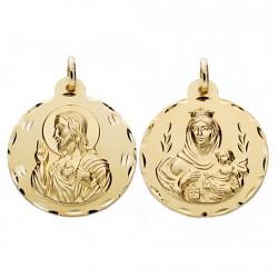 Medalla oro 18k escapulario 28mm. Virgen Carmen y Cristo [AA0554]