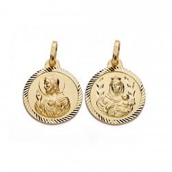Medalla oro 18k Virgen del Carmen y Cristo Jesús 16mm. [AA0556]
