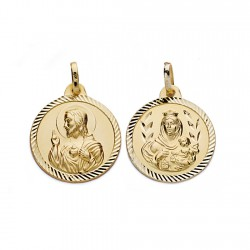Medalla oro 18k Virgen del Carmen y Cristo Jesús 18mm. [AA0557]