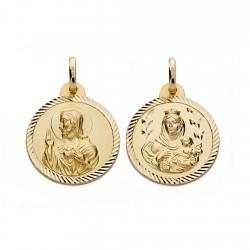 Medalla oro 18k Virgen del Carmen y Cristo Jesús 20mm. [AA0558]