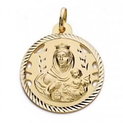 Medalla oro 18k Virgen del Carmen y Cristo Jesús 28mm. [AA0562]