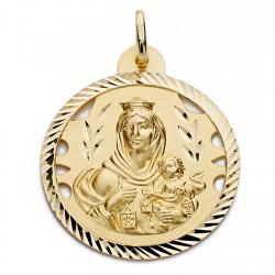 Medalla oro 18k Virgen del Carmen y Cristo Jesús 30mm. [AA0563]