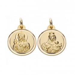Medalla oro 18k escapulario 20mm. Virgen Carmen y Cristo [AA0565]