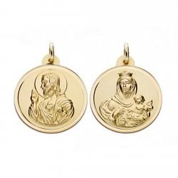 Medalla oro 18k escapulario 22mm. Virgen Carmen y Cristo [AA0566]