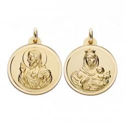Medalla oro 18k escapulario 24mm. Virgen Carmen y Cristo [AA0567]