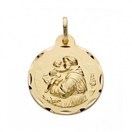 Medalla oro 18k San Antonio 22mm. [AA0571]