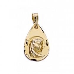 Medalla oro 18k Virgen Nina gota [AA0575]