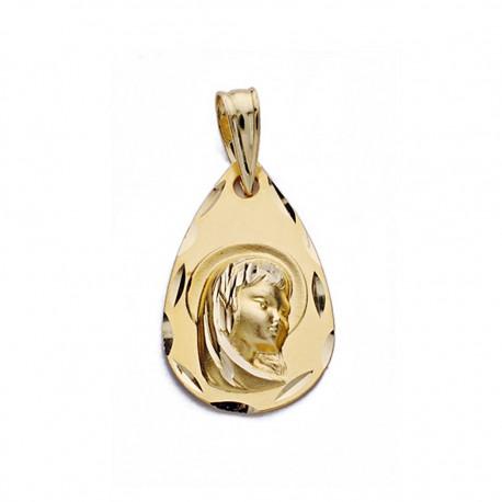 Medalla oro 18k Virgen Niña gota [AA0575]