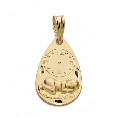 Medalla oro 18k niño reloj 19mm. [AA0576]