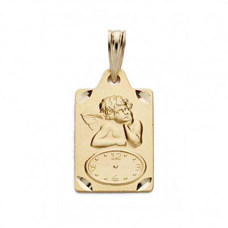 Medalla oro 18k ángel reloj 19mm. [AA0585]