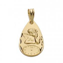 Medalla oro 18k angelito burlón reloj 19mm. hora nacimiento forma lágrima