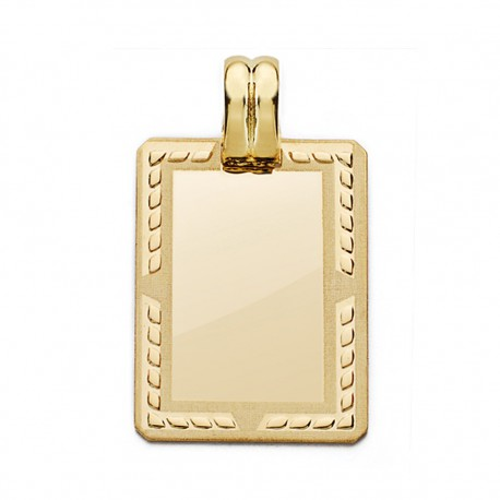 Colgante chapa oro 18k rectangular 24mm. [AA0591]