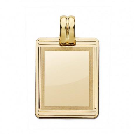 Colgante chapa oro 18k rectangular 24mm. [AA0592]