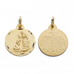 Medalla oro 18k bendición San Francisco 18mm. [AA0600]
