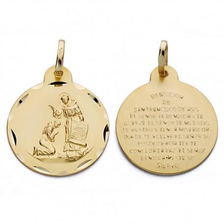 Medalla oro 18k bendición San Francisco 20mm. [AA0601]