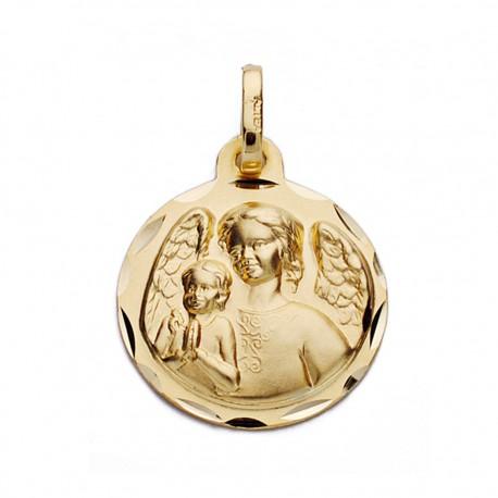 Medalla oro 18k ángel de la guarda 16mm. [AA0602]