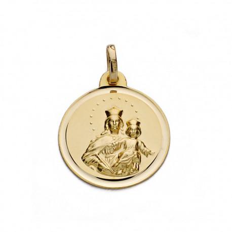 Medalla oro 18k Virgen María Auxiliadora 18mm. [AA0603]