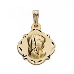 Medalla oro 18k Virgen Niña 19mm. forma pandereta bordes tallados