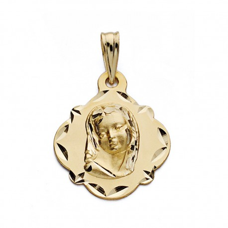 Medalla oro 18k Virgen Niña 19mm. [AA0606]