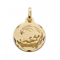 Medalla oro 18k niño pesebre 16mm. [AA0611]