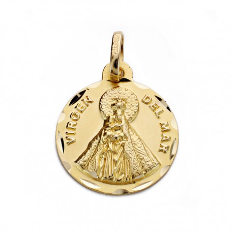 Medalla oro 18k Virgen del Mar 16mm. [AA0612]