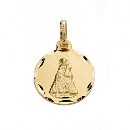 Medalla oro 18k Virgen Desamparados 14mm. [AA0616]