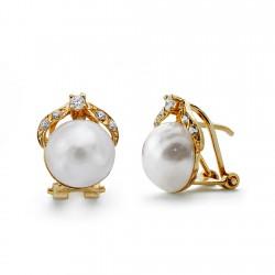 Pendientes oro 18k perla japonesa 10mm. [AA0642]
