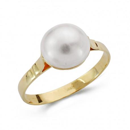 Sortija oro 18k perla japonesa 10mm. [AA0643]
