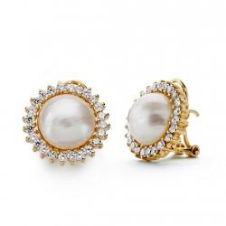 Pendientes oro 18k perla japonesa 12mm. [AA0644]