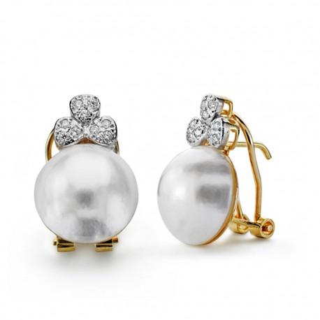Pendientes oro 18k perla japonesa 12mm. [AA0650]