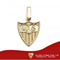 Colgante escudo Sevilla FC oro de ley 18k liso 16mm. [AA0652]