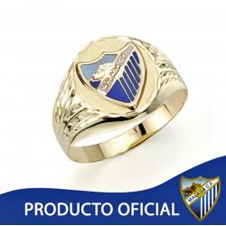 Sello escudo Málaga CF oro de ley 18k oval hueco [AA0663]