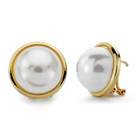 Pendientes oro 18k media perla falsa 16mm. [AA0669]