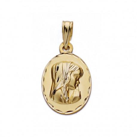 Medalla oro 9k Virgen Niña 19mm. [AA0693]
