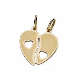 Colgante corazón oro 9k partido 17mm. [AA0697]