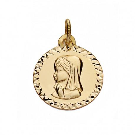 Medalla oro 9k Virgen Niña 16mm. [AA0704]