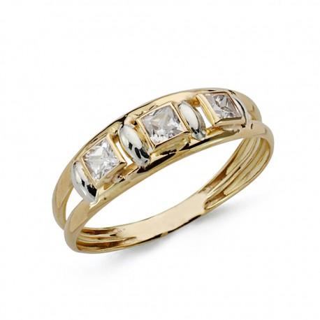 Sortija oro 9k bicolor piedras [AA0715]