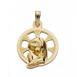 Medalla oro 9k Virgen Nina calada 22mm. [AA0729]