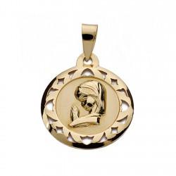 Medalla oro 9k Virgen Niña 18mm. [AA0730]