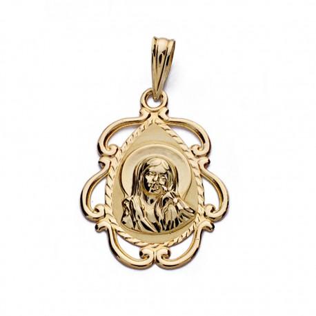 Medalla oro 9k cerco Virgen Niña calado 22mm. [AA0734]