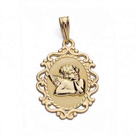 Medalla oro 9k angelito cerco 23mm. [AA0735]